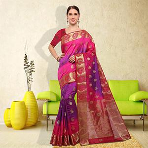 Bold Pink-Purple Colored Festive Wear Raw Silk Saree
