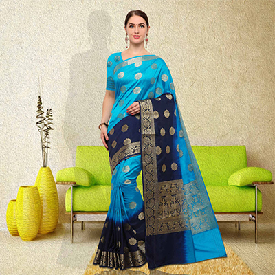 Gorgeous Sky Blue-Navy Blue Colored Festive Wear Raw Silk Saree