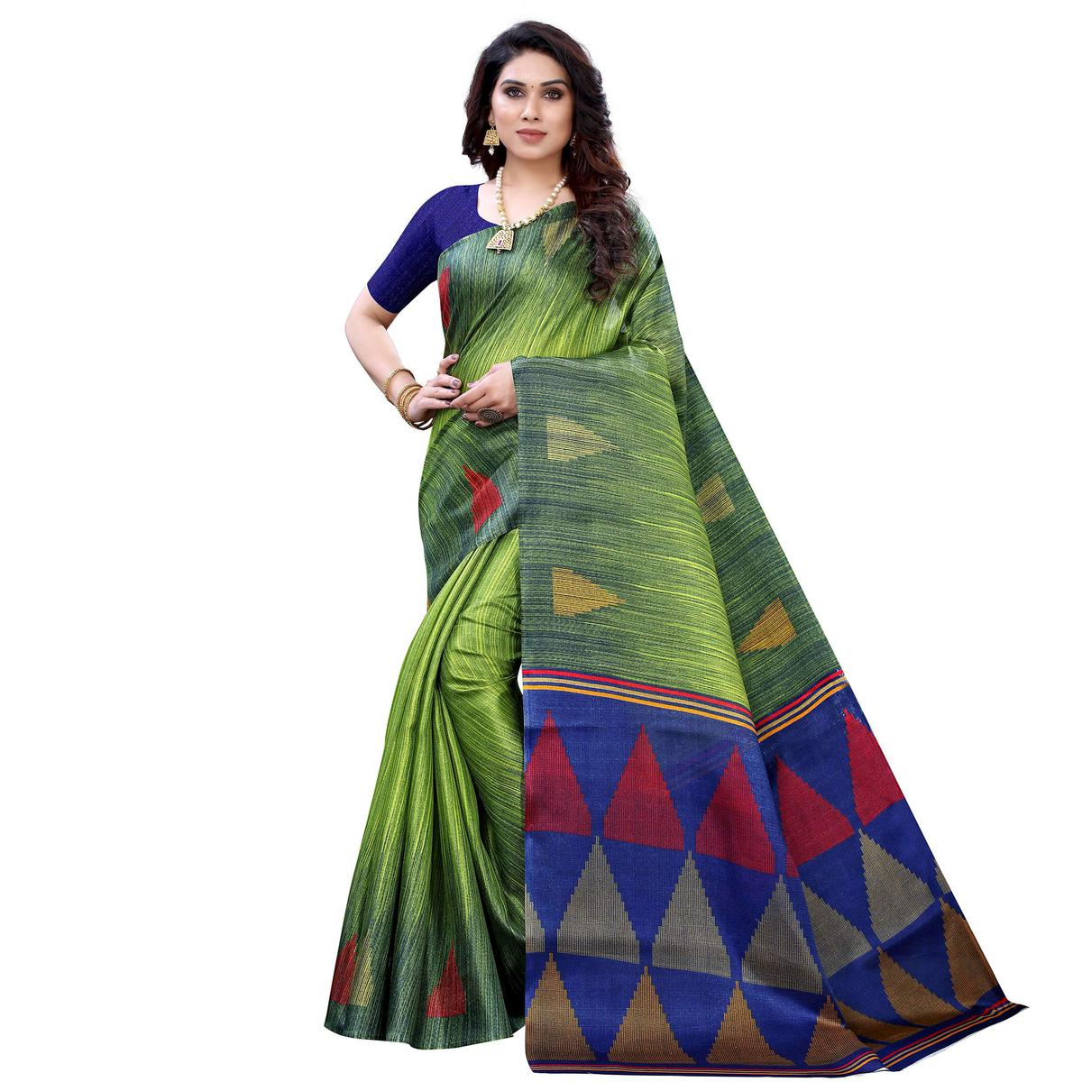 Prominent Green Colored Casual Wear Printed Art Silk Saree
