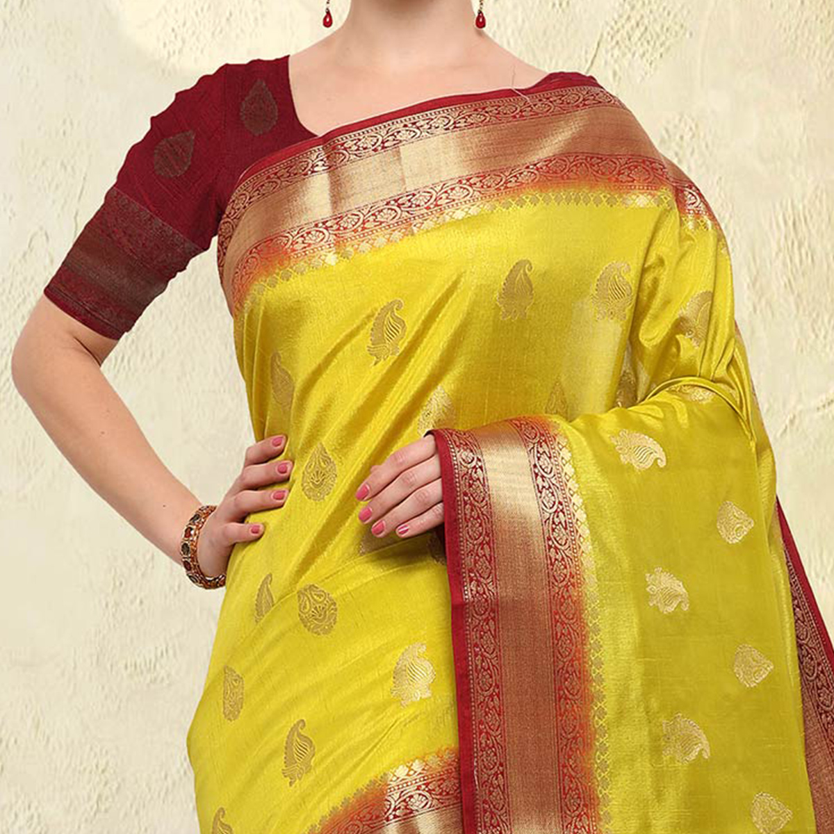 Lime Yellow Colored Festive Wear Raw Silk Saree