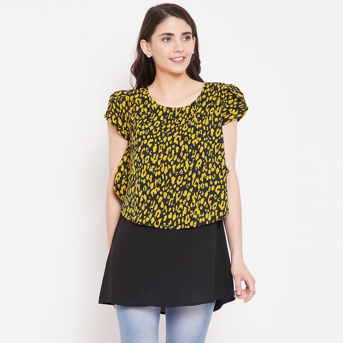 Ruhaan's - Womens Crepe Printed Black and Yellow Top
