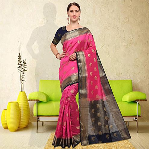 Pretty Pink Colored Festive Wear Raw Silk Saree