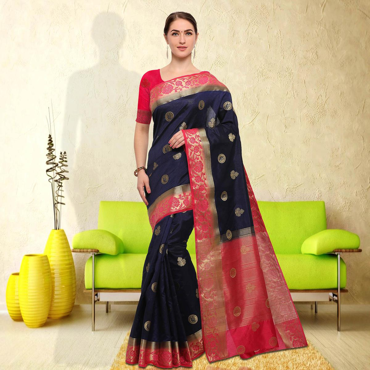 Blooming Navy Blue Colored Festive Wear Raw Silk Saree