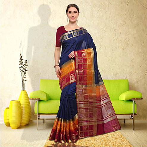 Mesmerising Multicolored Festive Wear Raw Silk Saree