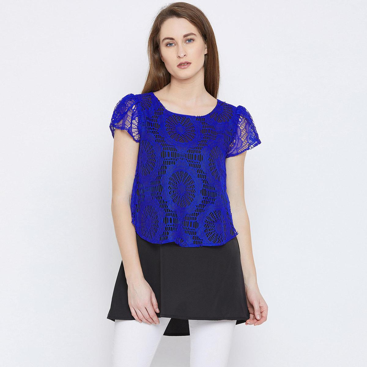 Ruhaan's - Womens Net and Crepe Blue Top