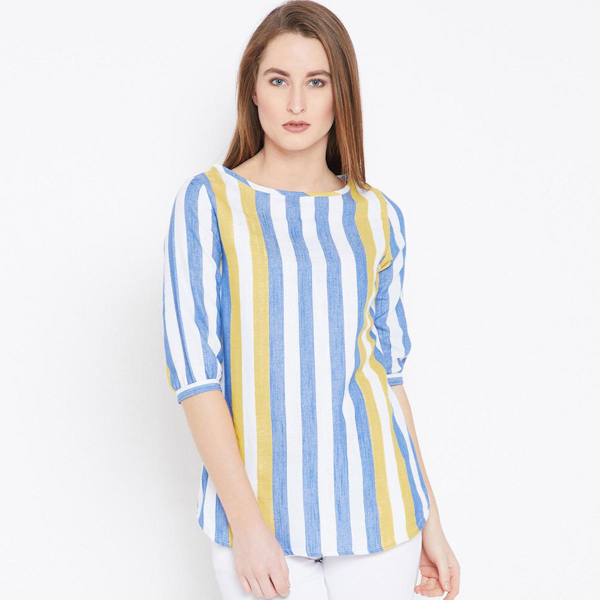 Ruhaan's - Womens Cotton Striped White and Blue Tunic