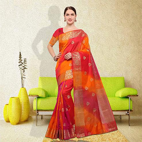 Classy Multi Colored Festive Wear Raw Silk  Saree