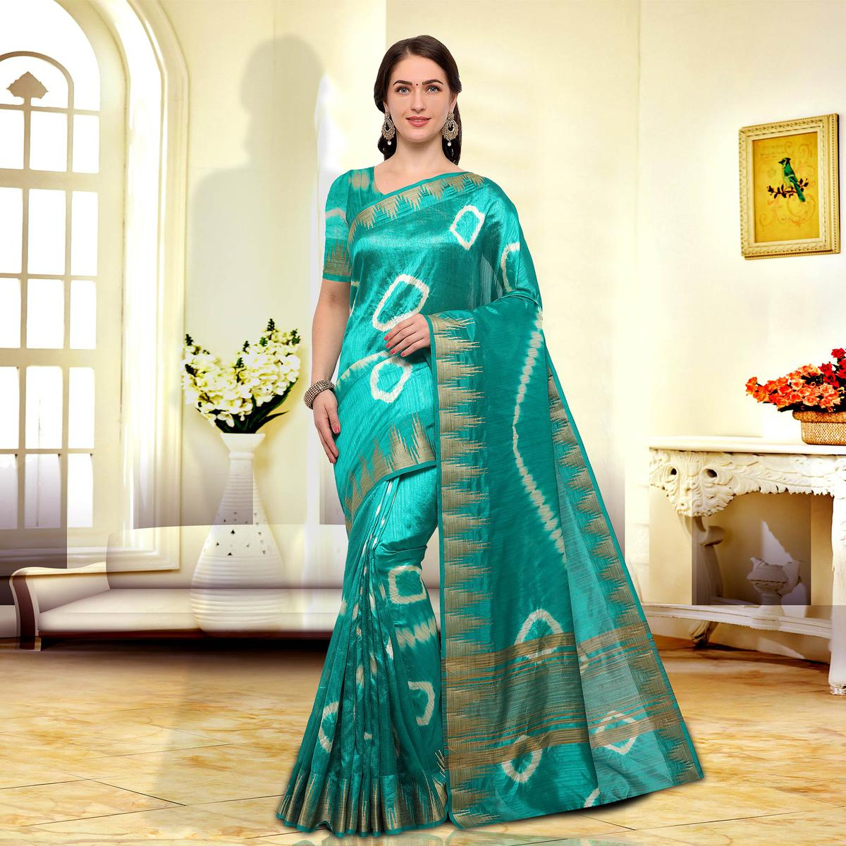 Beautiful Turquoise Green Colored Festive Wear Art Silk Saree