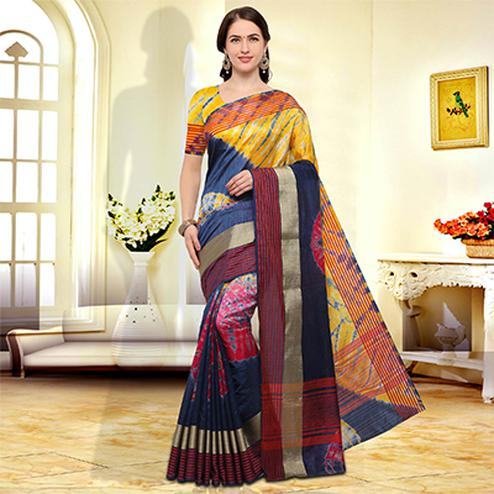 Multicolored Festive Wear Art Silk Saree