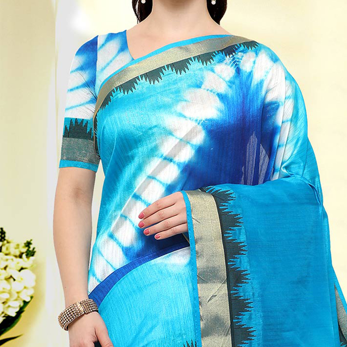 Mesmerising Blue Colored Festive Wear Art Silk Saree