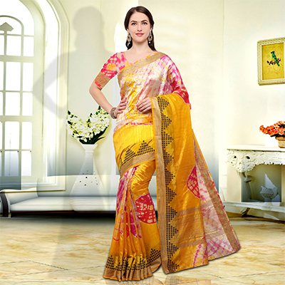 Elegant Yellow Colored Festive Wear Art Silk Saree