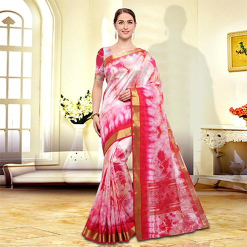 Simple Pink Colored Festive Wear Art Silk Saree