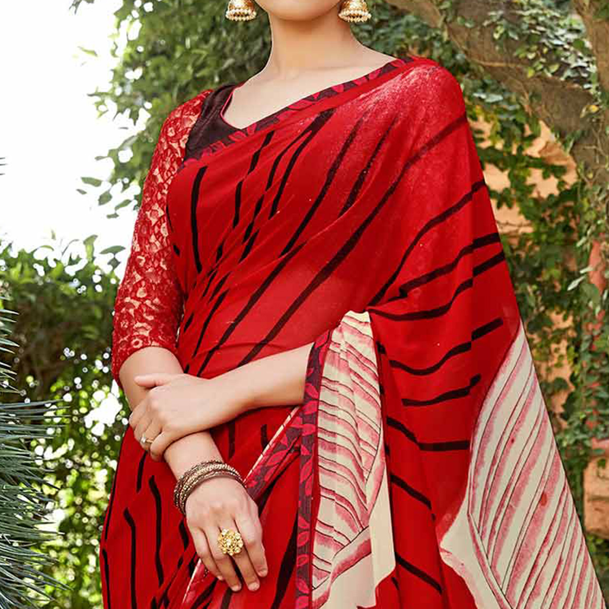 Red Casual Wear Printed Saree