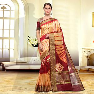 Traditional Yellow-Maroon Colored Festive Wear Art Silk Saree