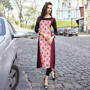 Stunning Black-Maroon Colored Casual Printed Cotton Kurti