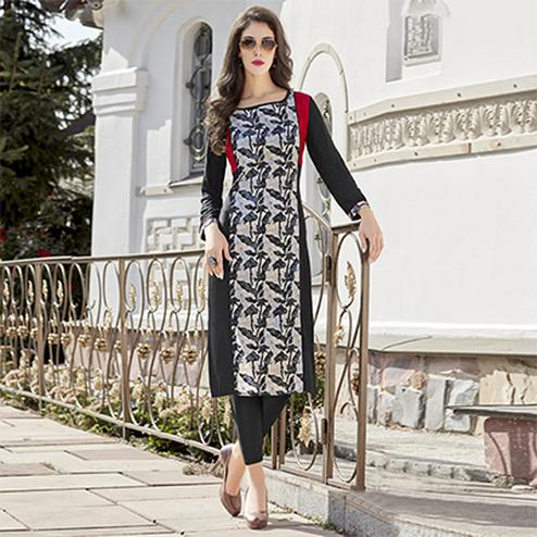 Stylish Black Colored Casual Printed Cotton Kurti