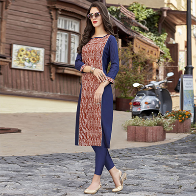 Attractive Blue-Brown Colored Casual Printed Cotton Kurti