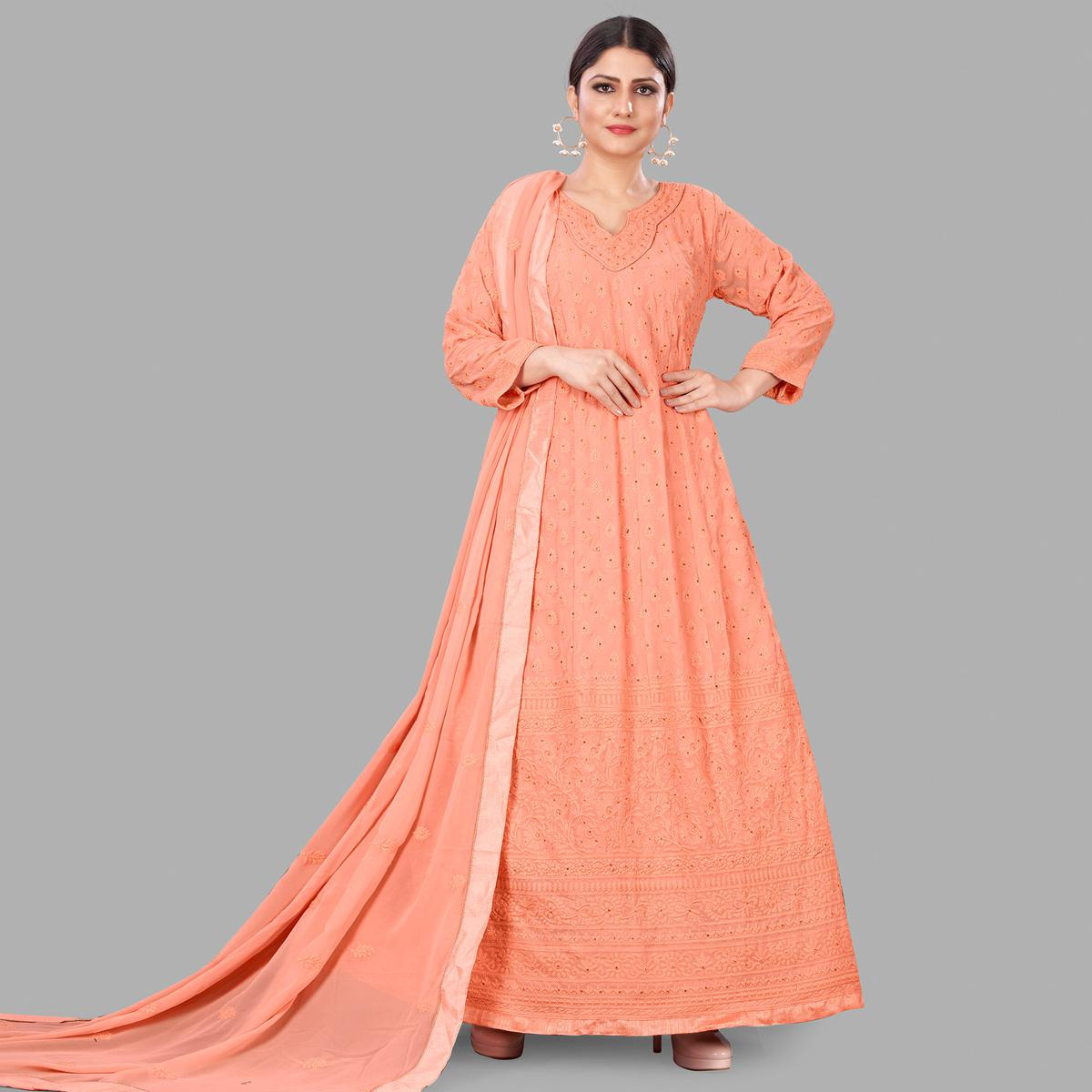Peach Partywear Embroidered Heavy Faux Georgette A line suit