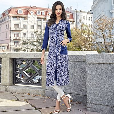 Lovely Blue-White Colored Casual Printed Cotton Kurti