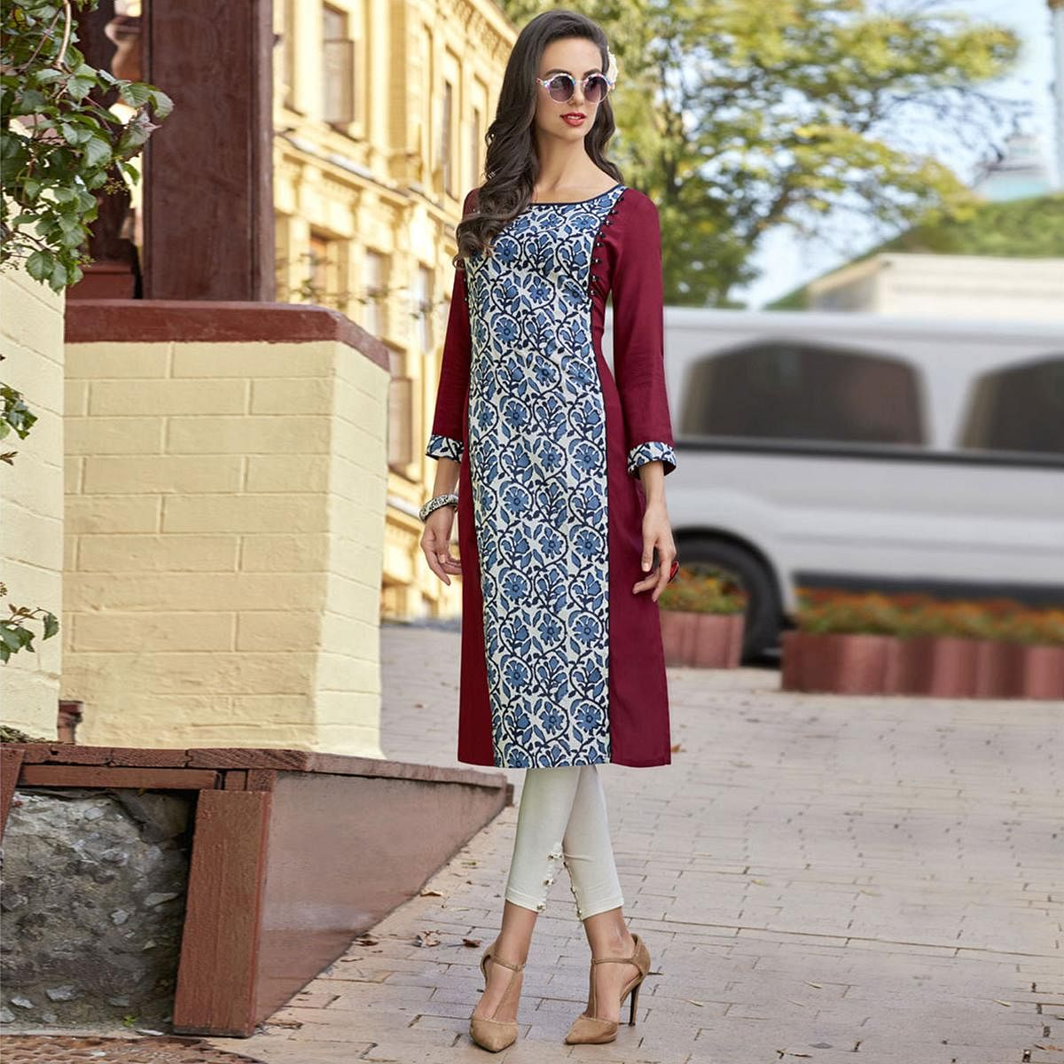Beautiful Maroon Colored Casual Printed Cotton Kurti