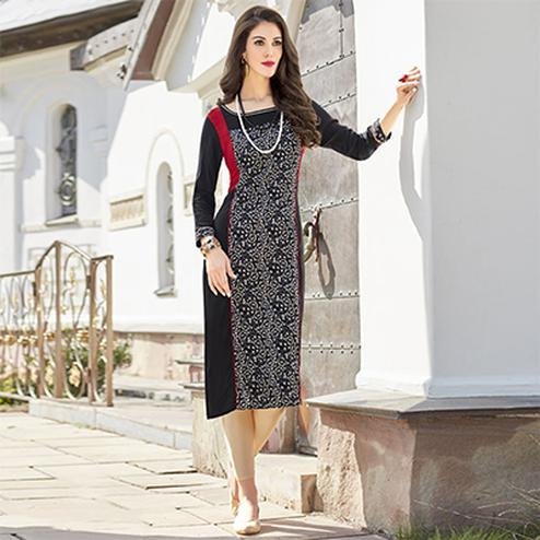 Gorgeous Black Colored Casual Printed Cotton Kurti