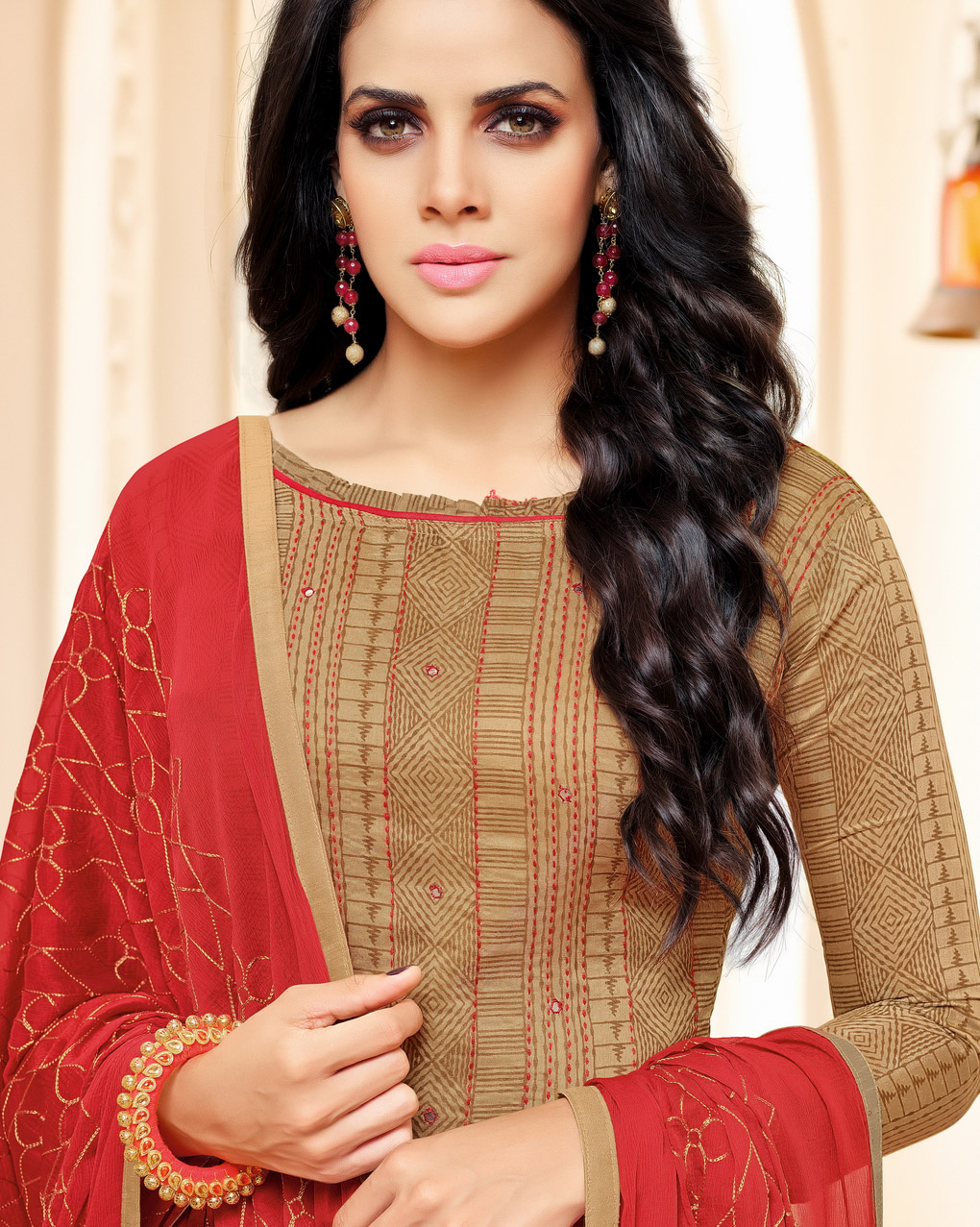 Beige-Red Colored Designer Embroidered Chanderi Cotton Dress Material