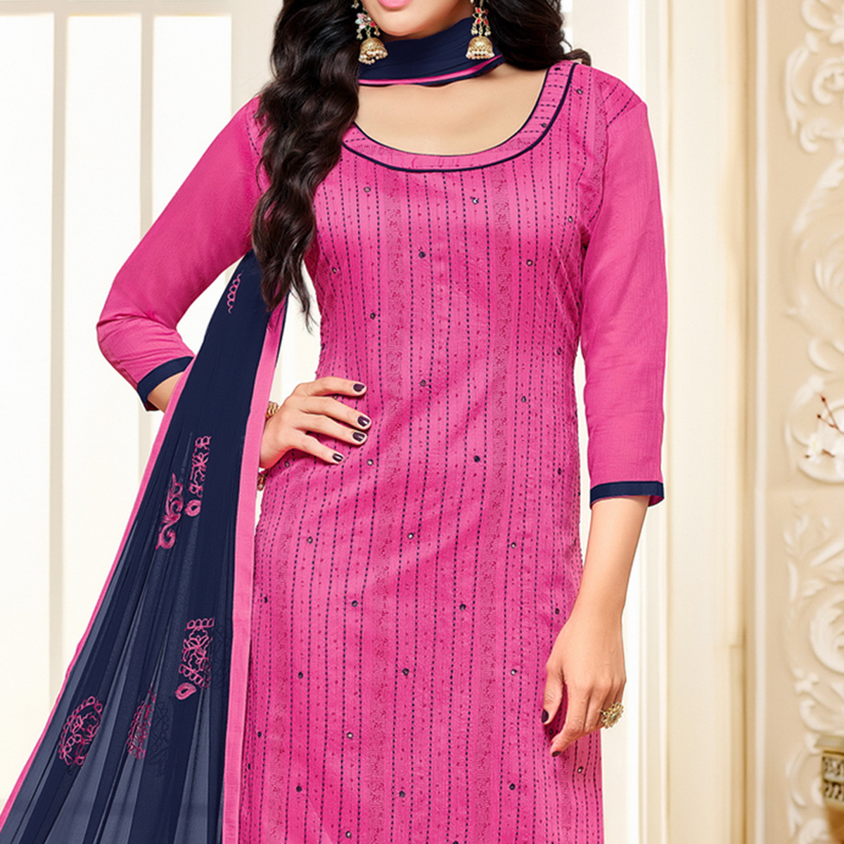 Pink-Blue Colored Designer Embroidered Chanderi Cotton Dress Material