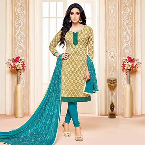 Cream-Blue Colored Designer Embroidered Chanderi Cotton Dress Material