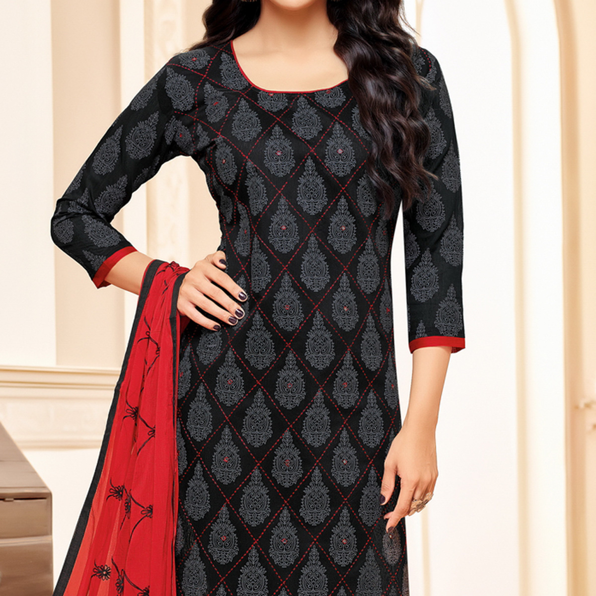 Black-Red Colored Designer Embroidered Chanderi Cotton Dress Material