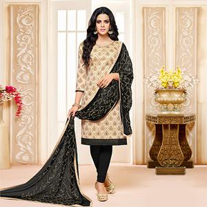 Beige-Black Colored Designer Embroidered Chanderi Cotton Dress Material