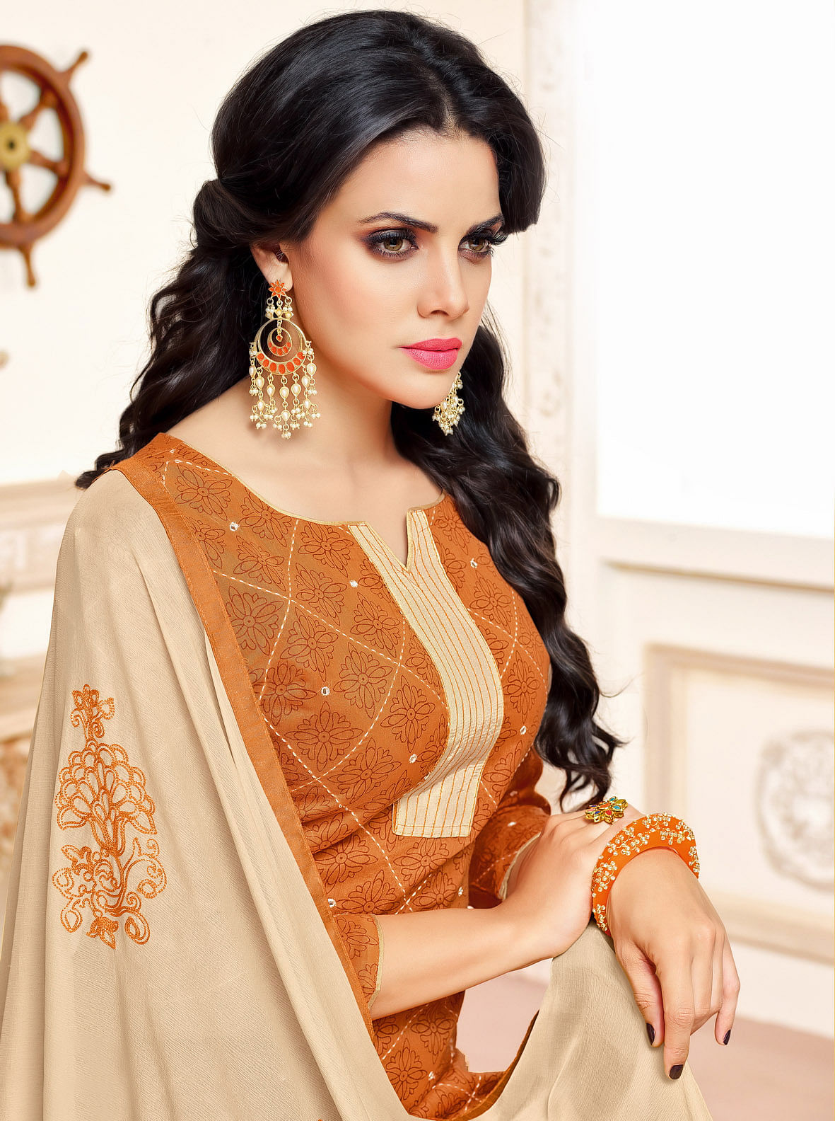 Orange-Beige Colored Designer Embroidered Chanderi Cotton Dress Material