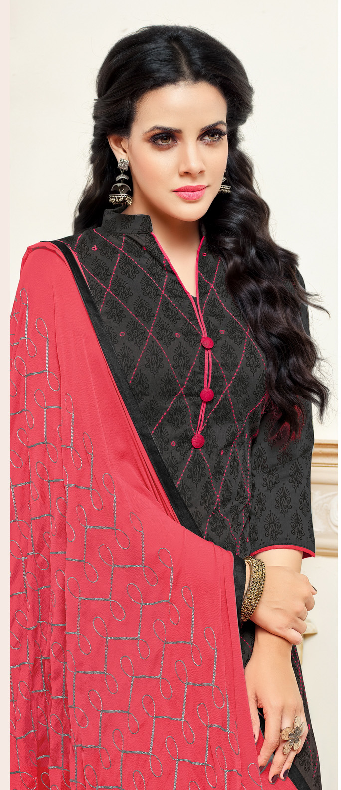 Black-Pink Colored Designer Embroidered Chanderi Cotton Dress Material