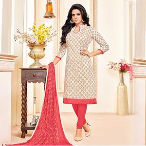 Cream-Pink Colored Designer Embroidered Chanderi Cotton Dress Material