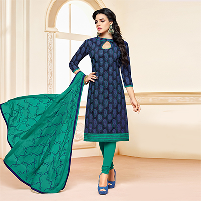 Blue-Green Colored Designer Embroidered Chanderi Cotton Dress Material
