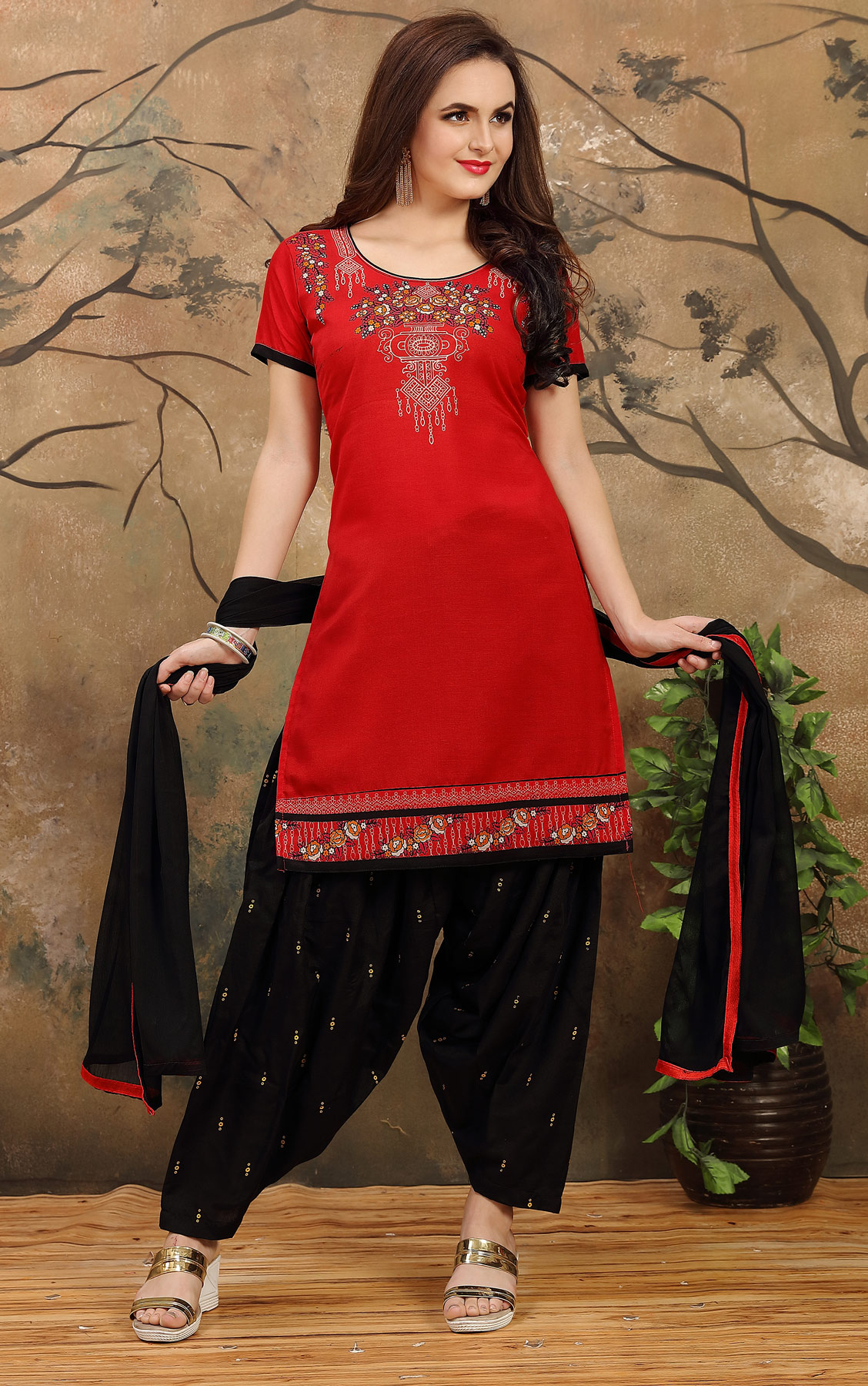 Red - Black Casual Wear Patiala Suit