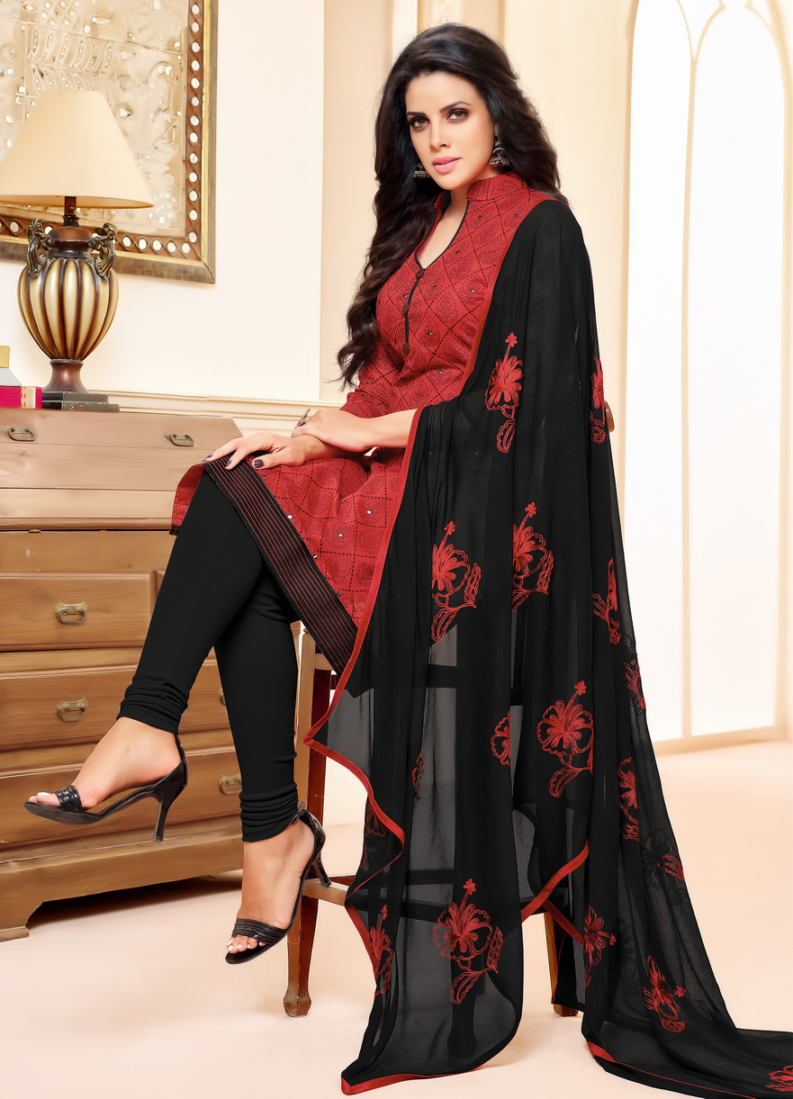 Maroon-Black Colored Designer Embroidered Chanderi Cotton Dress Material