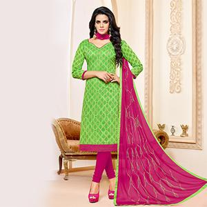 Green-Pink Colored Designer Embroidered Chanderi Cotton Dress Material