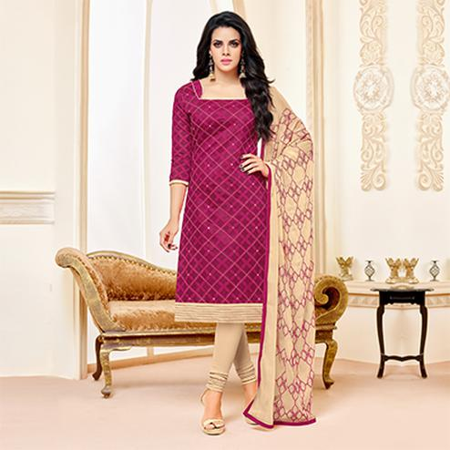 Magenta-Beige Colored Designer Embroidered Chanderi Cotton Dress Material