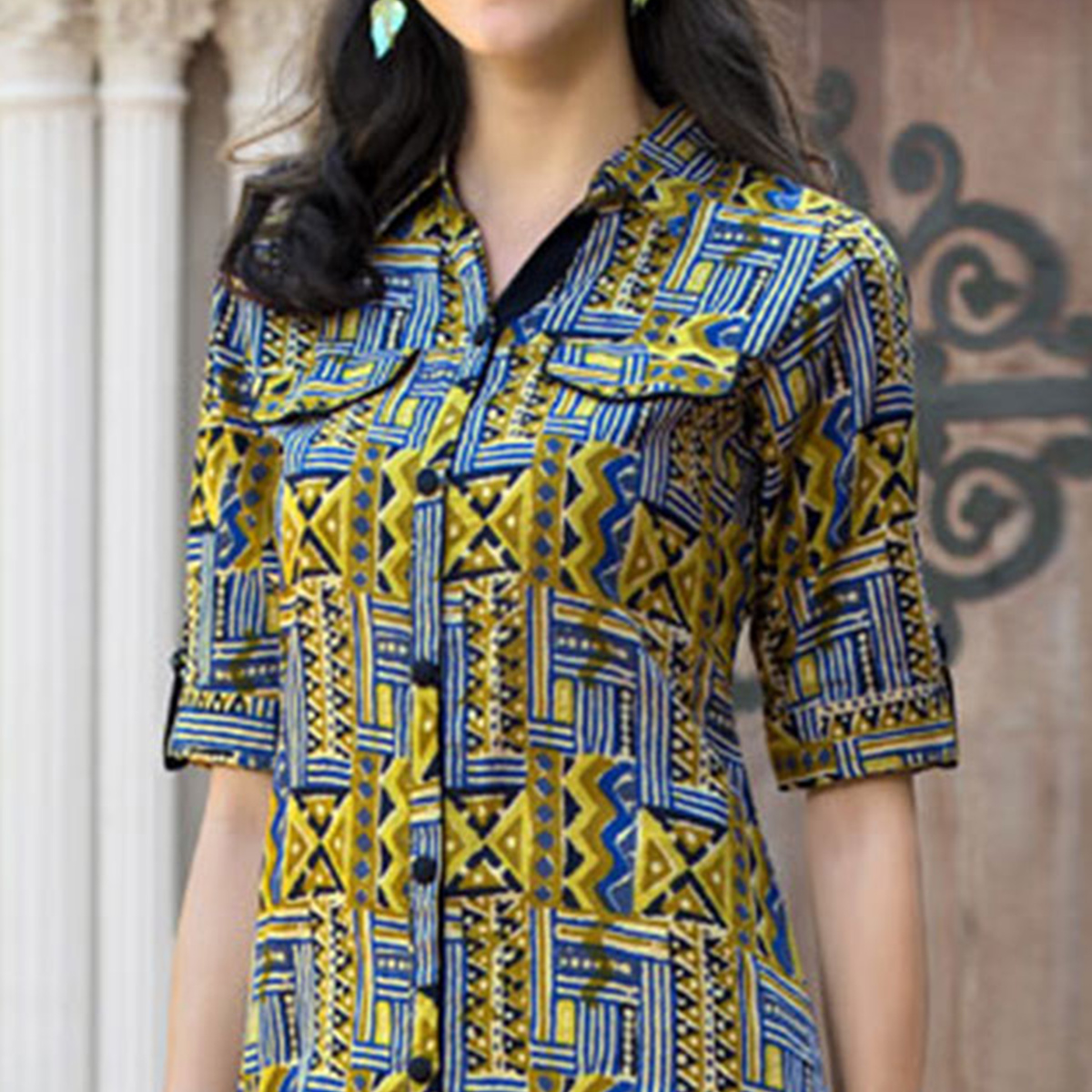 Yellow Colored Casual Printed Cotton Kurti