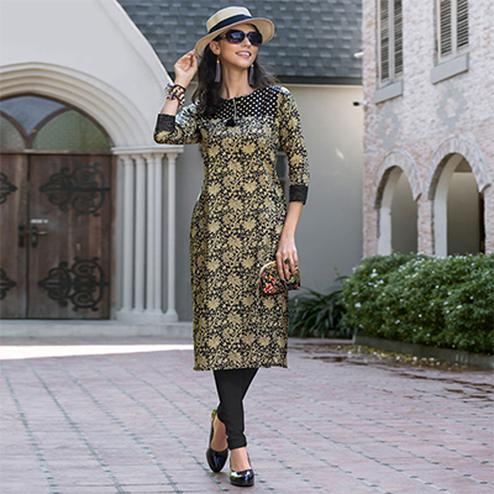 Cream-Black Colored Casual Printed Cotton Kurti
