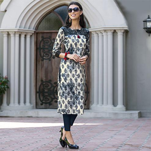 Off-White-Black Colored Casual Printed Cotton Kurti