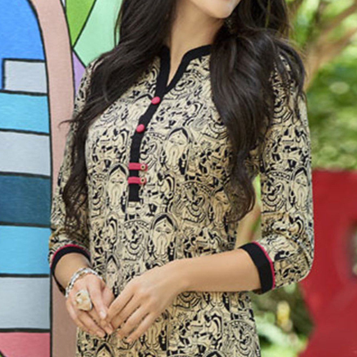 Beige Colored Casual Printed Cotton Kurti