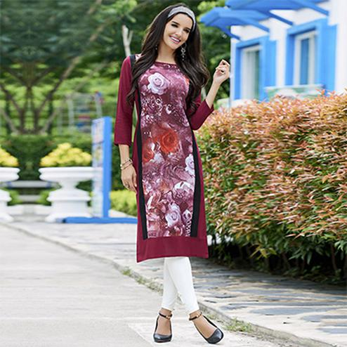 Maroon Colored Casual Printed Cotton Kurti