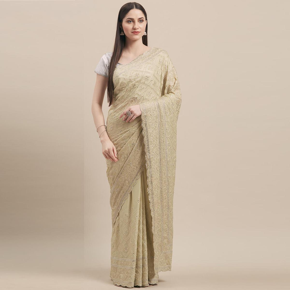 MAHOTSAV Green Pure Georgette Saree With Matching Blouse