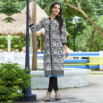 White-Black Colored Casual Printed Cotton Kurti