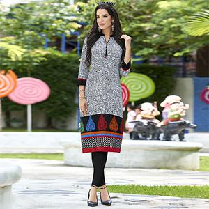 White Colored Casual Printed Cotton Kurti