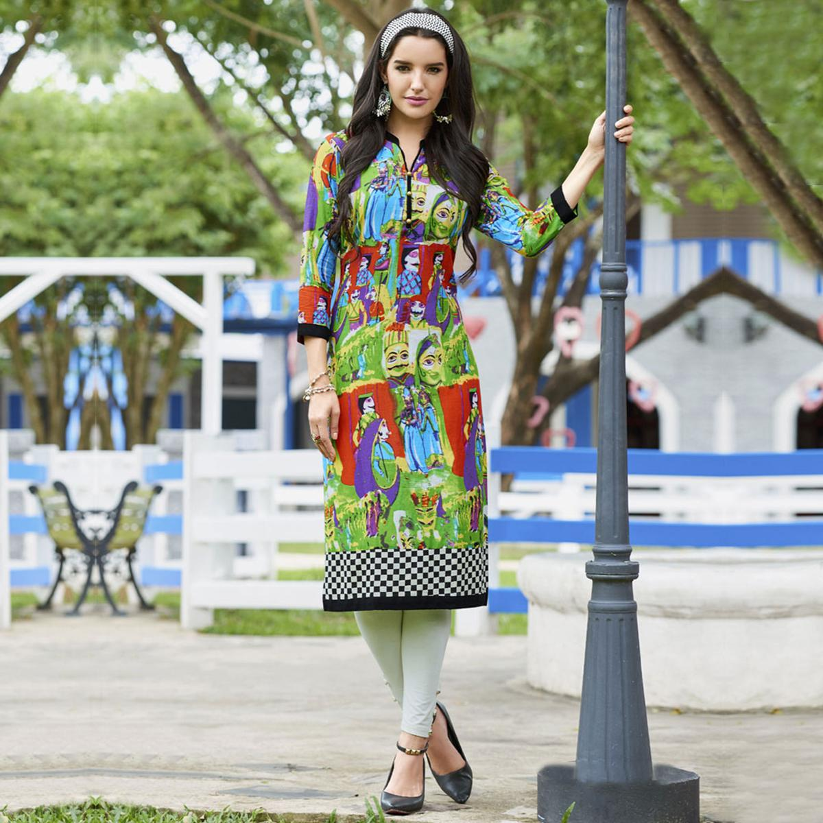 Multi Colored Casual Printed Cotton Kurti