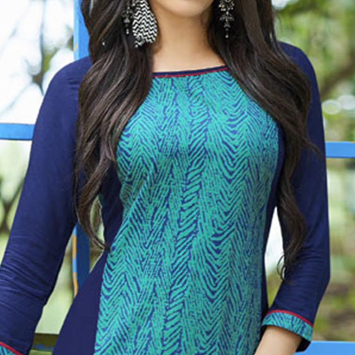 Blue-Green Colored Casual Printed Cotton Kurti