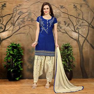 Blue - Cream Indo Cotton Patiala Suit