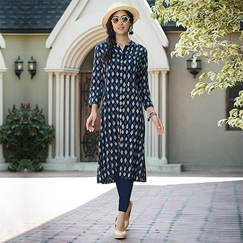 Ravishing Blue Colored Casual Printed Rayon Kurti